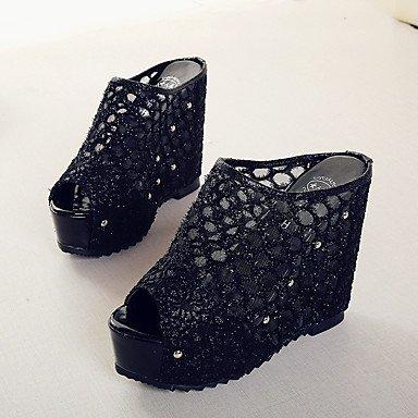 LvYuan Mujer-Tacón Cuña-Zapatos del club-Sandalias-Informal-PU-Negro Beige Black