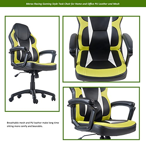 51SjZ iqycL - Merax-Racing-Gaming-Style-Task-Chair-for-Home-and-Office-PU-Leather-and-Mesh