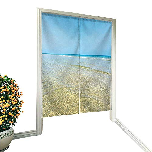 Wicker Man Island (QianHe Linen Cotton Door CurtainCollection Bright Crystal Sea Water in The Island with Sky Landscape Nature Endless Noren Doorway Curtain Tapestry 36
