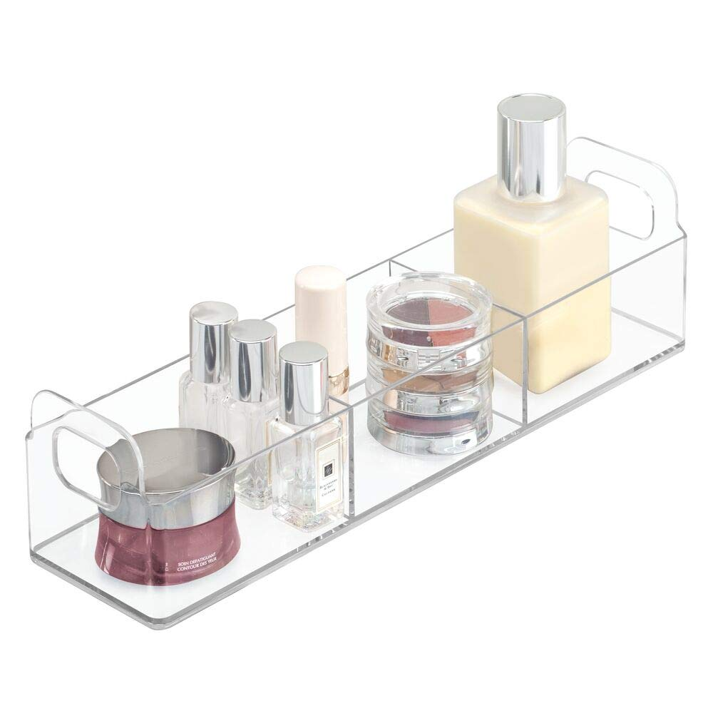 "mDesign Small Plastic Bathroom Vanity, Cabinet, Countertop Organizer Storage Station Makeup Holder - Holds Eyeshadow Palettes, Nail Polish, Cotton Swabs, Vitamins, First Aid - 12"" Long - Clear"