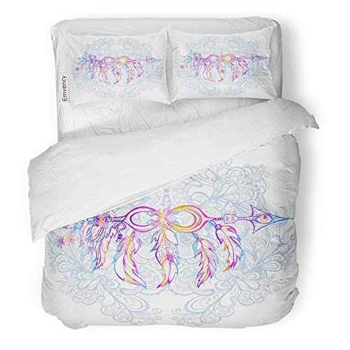 Emvency Decor Duvet Cover Set Full/Queen Size Ethnic Arrow with Feathers in Native Against of Vegetative Tribal Symbol 3 Piece Brushed Microfiber Fabric Print Bedding Set Cover ()