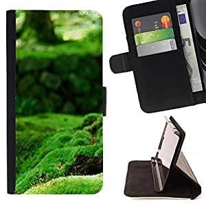 DEVIL CASE - FOR Sony Xperia M2 - Nature Green Moss - Style PU Leather Case Wallet Flip Stand Flap Closure Cover