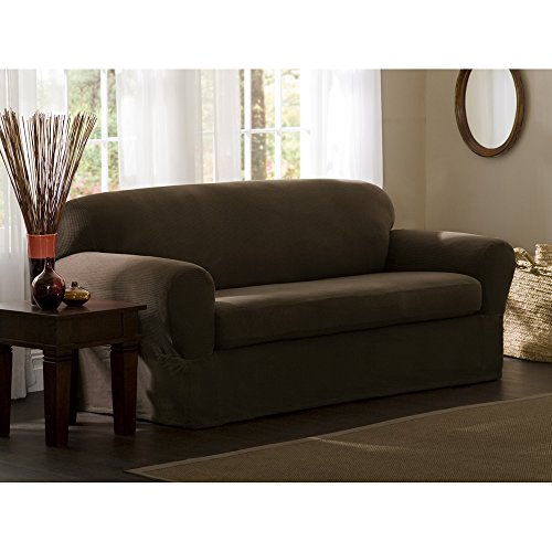 Maytex Reeves Stretch 2 Piece Loveseat Furniture Cover Slipcover, Chocolate Brown