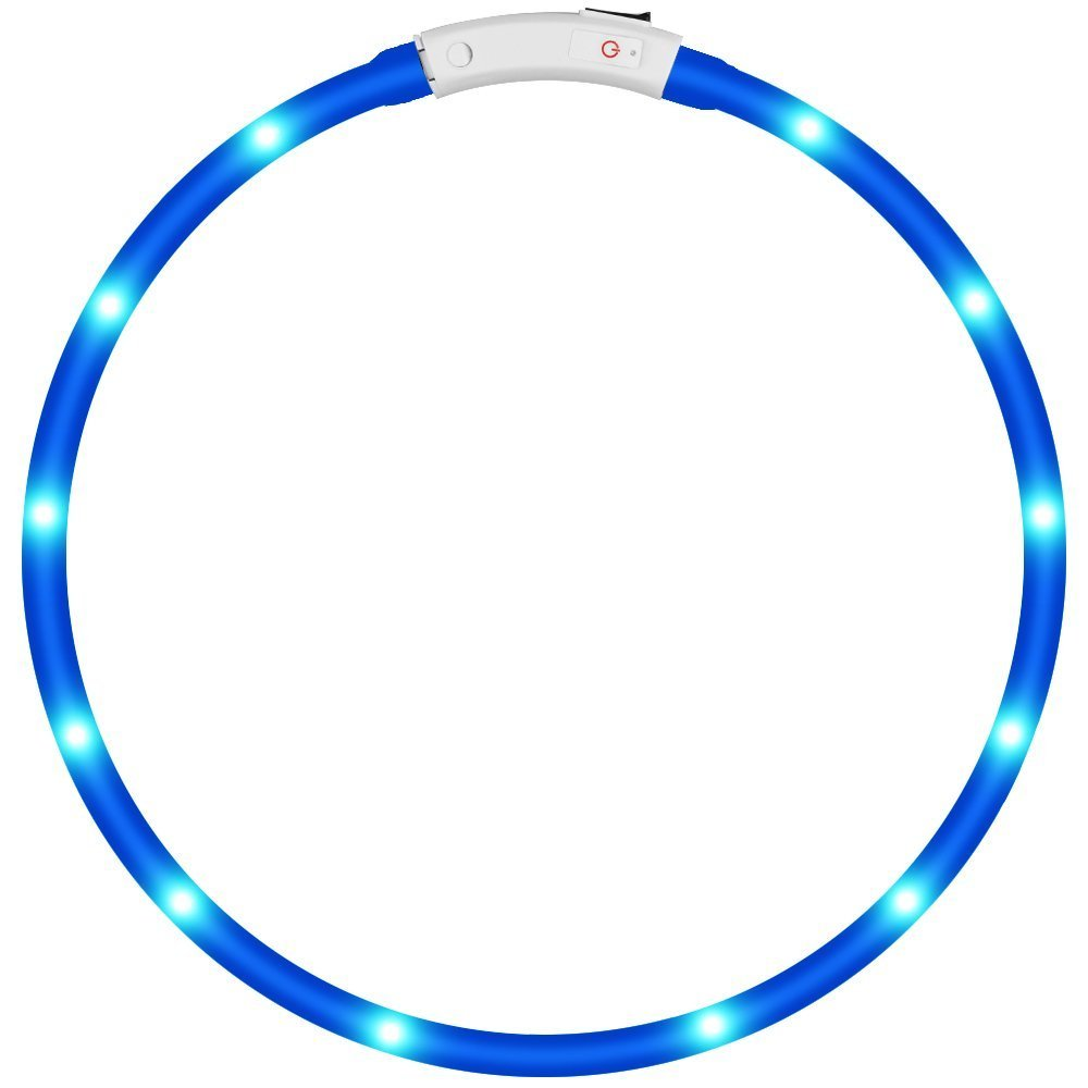 blueE Pack of 1 PCS- LED Dog Collar, KEKU USB Rechargeable, Glowing pet Dog Collar for Night Safety, Fashion Light up Tube Flashing Tube Collar for Small Medium Large Dogs-bluee