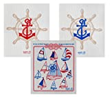 Wet-It Swedish Dishcloth Set of 3 (Sailing Red and Navy)