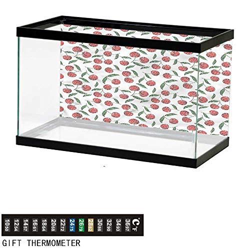 Clam Fish Shelter - bybyhome Fish Tank Backdrop Garden,Grunge Mosaic Style Cherries,Aquarium Background,36