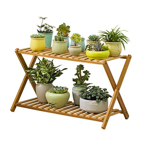 MinMin Flower Stand-Double Cross-Shaped Bamboo Flower Stand, Balcony Living Room Plant Decoration Frame Multi-Layer Pot Display Stand Indoor and Outdoor Plant Container