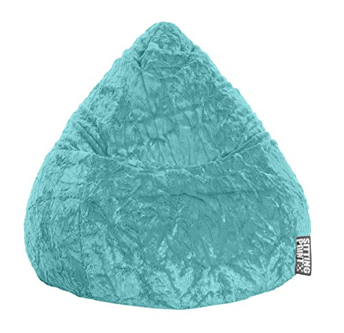Gouchee Home Fluffy Collection Contemporary Oversized Faux Fur Upholstered Design Bean Bag Chair, Turquoise