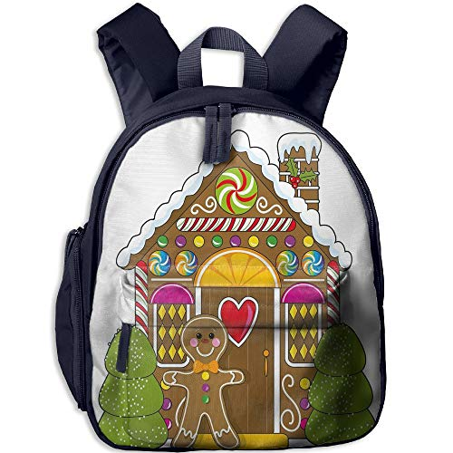 Haixia Child Boys&Girls Bookbag with Pocket Gingerbread Man Cute Gingerbread House Decorated with Colorful Candies Man Graphic Figure Decorative