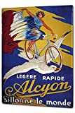 Tin Sign XXL Retro Motif Woman on bicycle