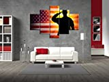 Military Saluting Painting on Canvas Extra Large Pictures for Living Room Vintage American USA Flag Wall Art Wooden Modern 5 panel Framed Giclee Print Gallery Wrap Artwork Stretched(60''W x 40''H)