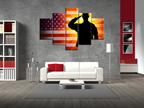 Military Saluting Painting on Canvas Extra Large Pictures for Living Room Vintage American USA Flag Wall Art Wooden Modern 5 panel Framed Giclee Print Gallery Wrap Artwork Stretched(60''W x (American War Original Photo)