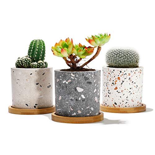 Potey Succulent Plant Pots Terrazzo Planter - 2.4