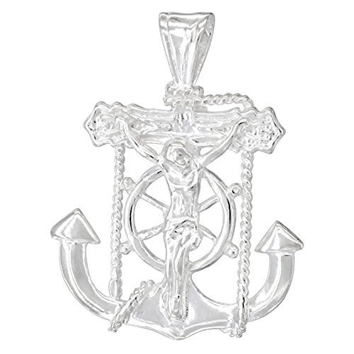 Sterling Silver Mariners Anchor Cross Pendant, 1 1/16 inch ()