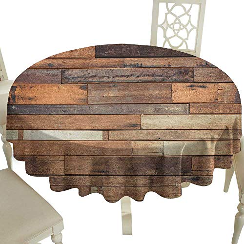 (Small Round Tablecloth 60 Inch Wooden,Rustic Floor Planks Print Grungy Look Farm House Country Style Walnut Oak Grain Image Brown Great for Traveling & More)