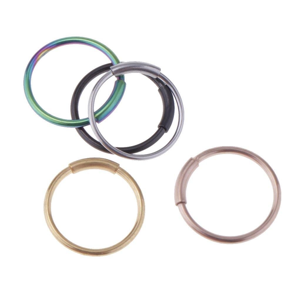 Homyl 5 PCS Stainless Seamless Segment Clicker Septum Nose Ring Piercing Hoop