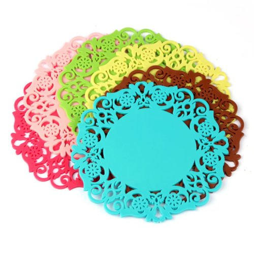 2pcs Efficient Silicone Lace Flower Cup Coaster Mat Nonslip Cushion Placemat New