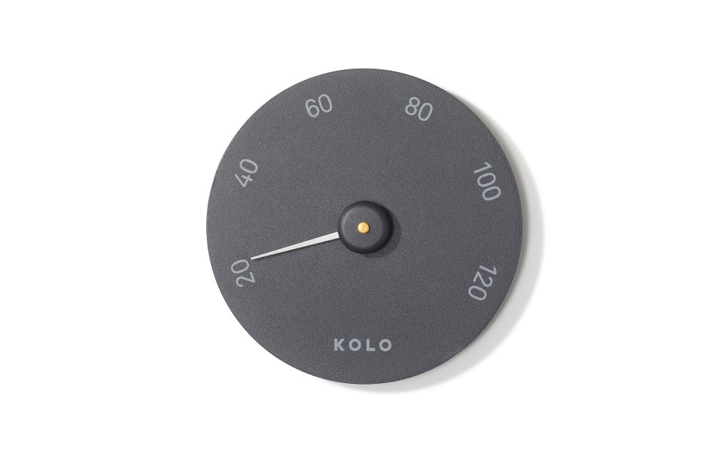 Kolo Sauna Thermometer Aluminium/Black KOLO Sauna Finland Oy