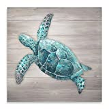 Wall Art With An Emerald Tone Sea Turtle Wood Panel