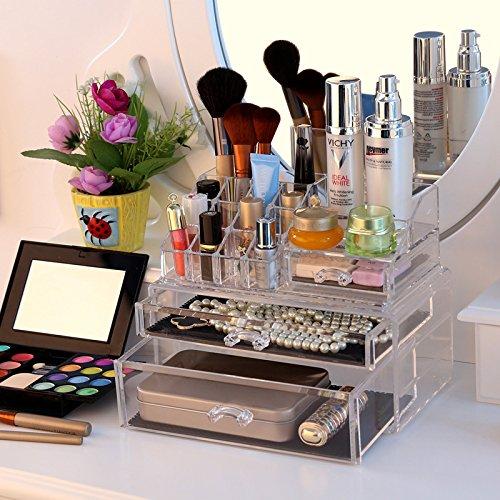 SONGMICS Makeup Organizer Large Drawer Countertop Cosmetic Jewelry - Cosmetic organizer countertop