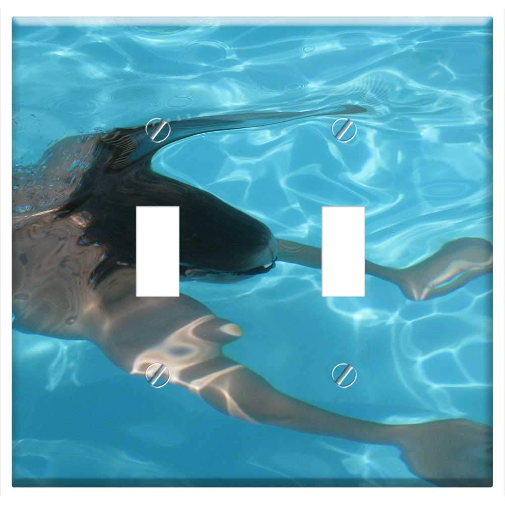 Switch Plate Double Toggle - Pool Diving Water Human Holiday Swimming Pool by Tree26