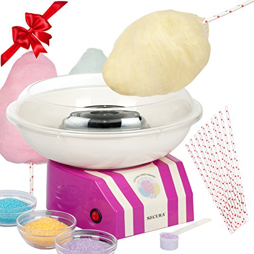 Classic Cotton Candy Maker by Secura - Sugar, SugarFree, or Hard Candy Cotton Candy Machine CCM668 ()