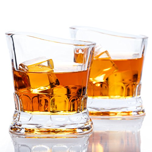 Whiskey Scotch Glass, European Design by Fifth & Fox - Set of 2 Crystal Drinking Glasses in Luxury Gift Box - Ultra Clarity, 100% Lead-Free Glassware for Bourbon on the rocks, for Men & Women by Fifth & Fox