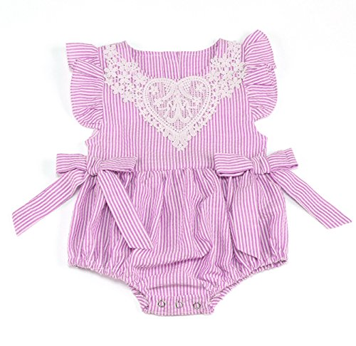 Newborn Baby Girl Short Sleeve Striped Seersucker Bubble Straps Ruffle Layers Bowknot Summer Romper Bodysuit (Pink, 12-24 M) Pink Striped Seersucker