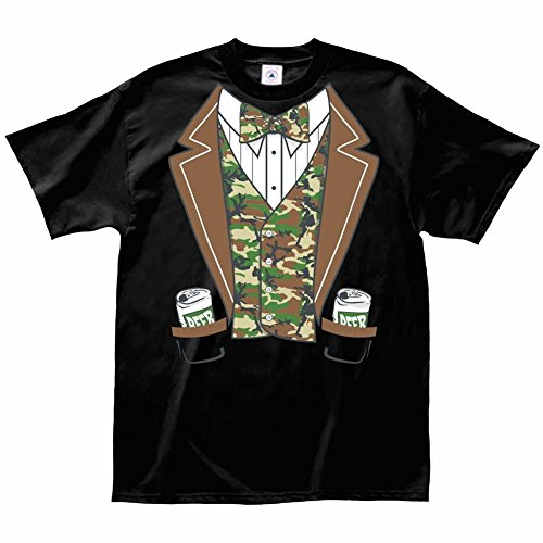 [Unisex-Adult Funny Camo Beer Can Faux Tuxedo Costume T-Shirt - Short Sleeve - Xl] (Redneck Costume Ideas)