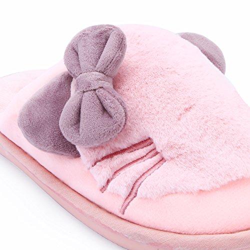 PRAGOO Frauen Mädchen Katze Bowknot Hausschuhe Warme Plüsch Schuhe Indoor Schlafzimmer Schuhe Pantoffeln Weiche Wärme Slippers Rutschfeste Rosa