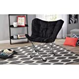Butterfly Chair Mainstays Collapsible Butterfly Chair with Soft Microsuede Fabric, Black (Black)