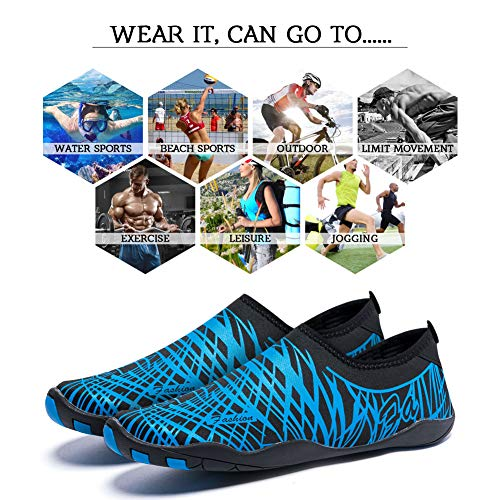 Lightweight Beach Womens line Driving Mens Swim Walking Shoes Shoes Surfing Water for Dry Quick Boating Garden Sports Yoga Aqua Blue Diving Madaleno 1PAIa