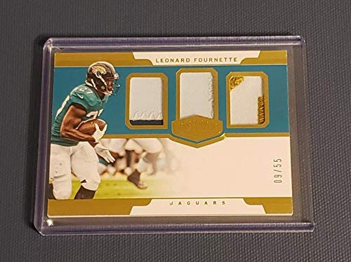 Football NFL 2018 Panini Plates and Patches Patch Trio #29 Leonard Fournette NM Near Mint Jersey 9/55 Jaguars