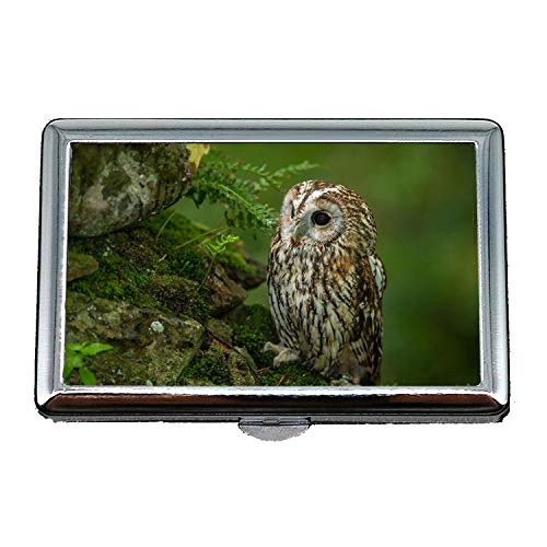 Cigarette Holder Case,owl Eyes Tattoo owl Bird,Business Card Holder Business Card Case Stainless -