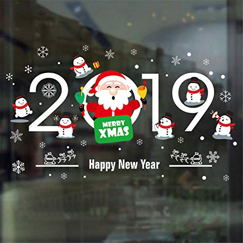 BIBITIME Santa Sayings 2019 Merry Christmas Happy New Year Wall Quotes Snowman Elks Pull Sled Decor Decal White Snowflakes Window Sticker for Baby Toddlers Nursery Bedroom Children Room Art PVC - Sleds Infant