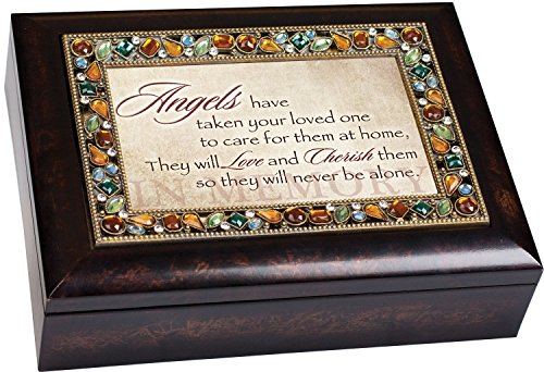 Angels Care for Them at Home Sympathy Bereavement Jeweled Lid Musical Jewelry Box with Dark Burl Wood Finish Plays On Eagle's Wings