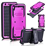 Anyshock[Armor Series] Heavy Duty Shockproof Durable Full Body Protection Rigged Hybrid Case with belt clip holster andKickstand for HTC Desire 626/626s (Free Screen Protector Included) (Hot-Pink)