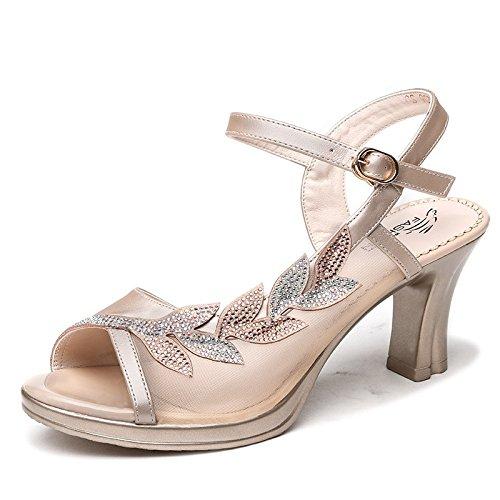Jqdyl Tacones Nuevas Sandalias de Tacones Altos de Verano de Las Mujeres Gruesas con los Zapatos de la Madre con la Palabra Hebilla de Las Mujeres Zapatos Casuales apricot