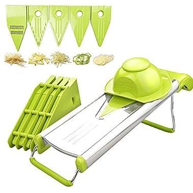 ZeaLite Heavy Duty Mandoline Slicer Stainless Steel 5 Different Inserts V-Blade Slicer