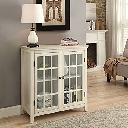Amazon Double Door Cabinet In Antique White Finish Kitchen