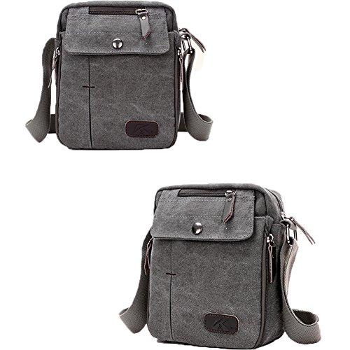 Icon Womens Laptop Bag - Unisex Casual Canvas Messenger Bag Purse Cross Body Travelling Bag (Gray)