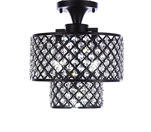 MonaLisa Gallery Antique Black Crystal Chandeliers Flush Mount Ceilling Pendant Light Fixture SML-182-3 W12xH14B