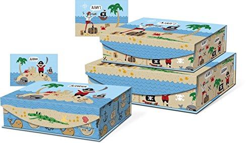 (Punch Studio Pirate Treasure Hunt Children's Nesting Flip Top Boxes with Magnetic Closure, Set of 3)