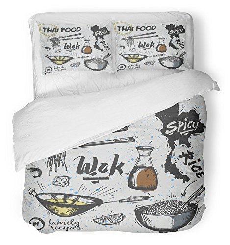 Emvency Bedsure Duvet Cover Set Closure Printed Wok of Asian Dishes Thai Food Noodles and Rice Pan Sketch Travel Cooking Doodle Cook Decorative Breathable Bedding Set With 2 Pillow Shams Twin Size by Emvency