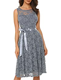 Women's Floral Lace Sleeveless Bridesmaid Dress Sheer Neckline A-line Swing Party Dress