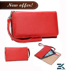 Alcatel OneTouch Fierce Case Universal Phone Wallet Clutch - RED. Bonus Ekatomi Screen Cleaner