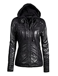 Womens Everyday Bomber Jacket Coat Full Zipper with Detachable Hood