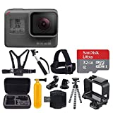 GoPro HERO6 Black + SanDisk Ultra 32GB Micro SDHC Memory Card + Hard Case + Chest Strap Mount + Head Strap Mount + Flexible Tripod + Extendable Monopod + Floating Handle + Great Value Accessory Bundle