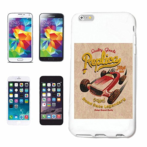 "cas de téléphone iPhone 7S ""REPLICA HIGHT SPEED ROAD RACE LEGENDARY US HOT ROD CAR Mucle CAR V8 ROUTE 66 USA AMÉRIQUE"" Hard Case Cover Téléphone Covers Smart Cover pour Apple iPhone en blanc"