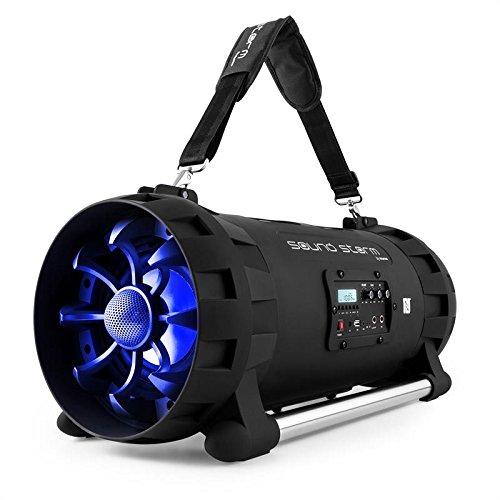 auna Soundstorm • Minicadena • Estéreo portátil • Bluetooth/NFC • USB Apto MP3 • Sintonizador FM • Entrada auxilar minijack 3,5mm • Pantalla LCD • Efectos de iluminación por LED • Negro-Azu